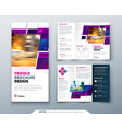 purple tri fold brochure design with square shapes vector image vector image