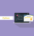 python programming language certificate vector image vector image