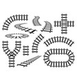 railroad elements curved straight and wavy rail vector image