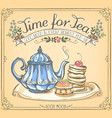 retro time for tea with teapot and pancakes vector image vector image
