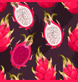 seamless pattern with dragon fruit vector image