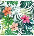 seamless tropical pattern white background vector image vector image