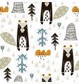 seamless woodland pattern with badgers n and hand vector image vector image
