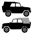 Set black silhouettes cars on white background vector image vector image