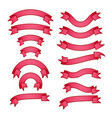set of bright pink different ribbons with gradient vector image