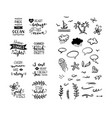 set of hand-drawn lettering phrases and clipart vector image