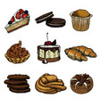 set of nine pastries and buns on a white vector image