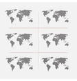 Set of striped world maps in different resolution vector image vector image