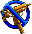 sign on ban with gun vector image
