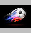 soccer ball with flame trail of russian flag vector image vector image