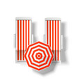 sun umbrella beach lounger top view vector image