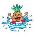 swimming pineapple ananas with safety ring vector image vector image