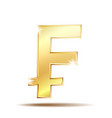 swiss franc currency shiny gold symbol vector image vector image