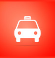 taxi car icon isolated on orange background vector image