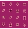 Valentine Day outline icons executed in the vector image vector image
