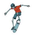 vintage colorful skeleton skater vector image
