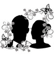 wedding silhouette with flourishes frame 2 vector image vector image