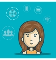 woman avatar with media icon set vector image vector image