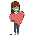 Zombie girl with a bloody heart vector image vector image