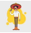 Mexican bandit with sombrero mustache and big vector image
