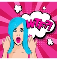 Angry young blue hair girl pop art vector image vector image