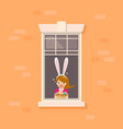 apartment window with girl wearing bunny ears vector image vector image