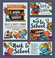back to school sale offer poster banner vector image