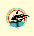 boat rainbow wave symbol logo element web design i vector image