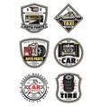 car repair shop and service garage vintage badges vector image vector image