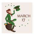 card of a leprechaun with a bottle sitting vector image