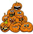 cartoon halloween pumpkins group vector image vector image