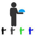 child waiter flat icon vector image vector image