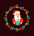 christmas decorative wreath with holiday elements vector image vector image