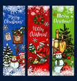 christmas greeting banner with xmas sketches vector image vector image