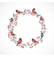 Christmas wreath with birds and ashberry vector image