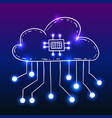 cloud with circuit board doodle style vector image