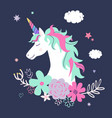 cute unicorn with flowers modern magical vector image vector image