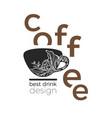 design cup coffee branch vector image vector image