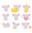 flat set of little mouse in different vector image vector image