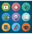 Flat Style Back to School Stationary Icon Set vector image vector image