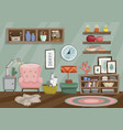 flat style of living room vector image vector image