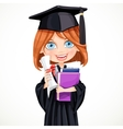 girl in cap holding a scroll diploma vector image vector image