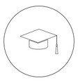 graduation cap black icon in circle isolated vector image