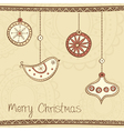 Greeting card with Christmas tree decoration on vector image vector image