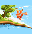 guy jumps into water vector image
