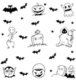Halloween tomb evil and ghost doodle set vector image vector image