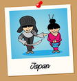Japan travel polaroid people vector image