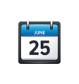 June 25 Calendar icon flat vector image vector image