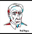 karl popper portrait vector image vector image