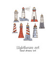 lighthouse hand drawn doodle set isolated vector image vector image